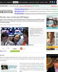 Stocks rise on fiscal cliff hopes: Christian Science Monitor